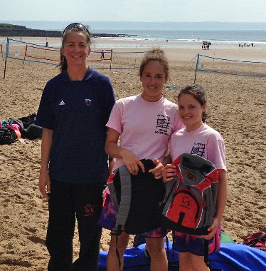 U12 Beach Champions Holly Wright and Evie Stone Right